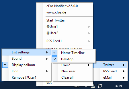 cFos Notifier Twitter list selection