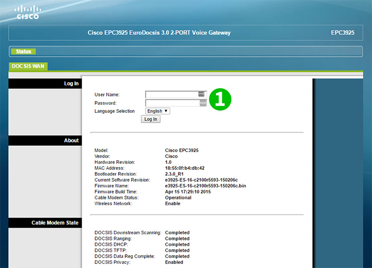 Enable port forwarding for the Cisco EPC3925 - cFos Software