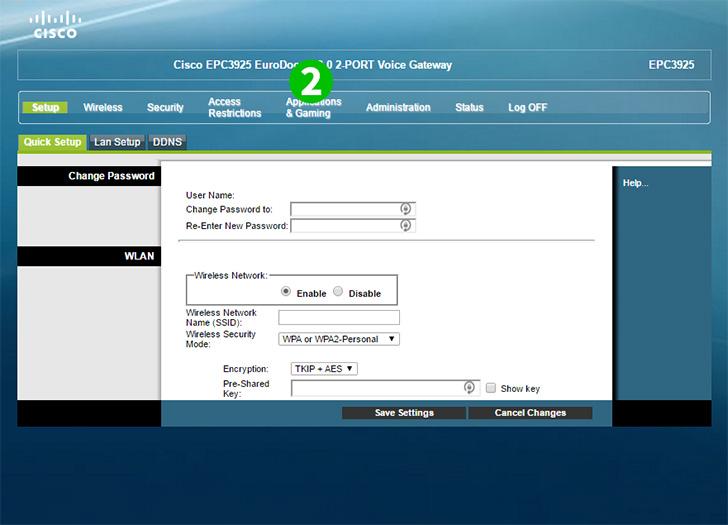 Enable port forwarding for the Cisco EPC3925 - cFos Software