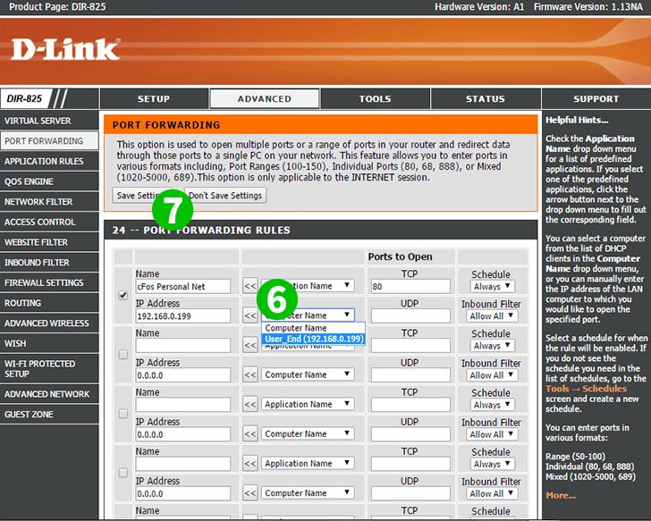 Enable port forwarding for the D-Link DIR-825 - Web server ...