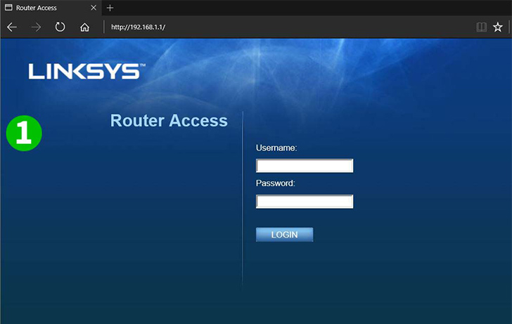 Linksys E2500 Step 1