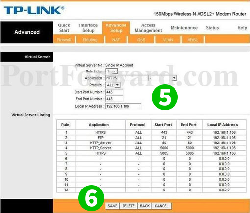 Enable port forwarding for the TP-LINK TD-W8951ND - cFos