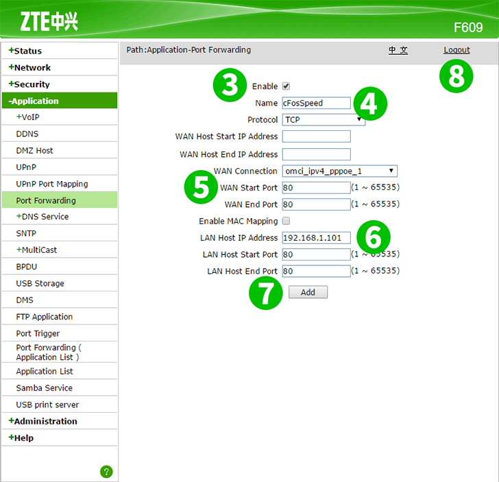 Enable port forwarding for the ZTE F609 - cFos Software