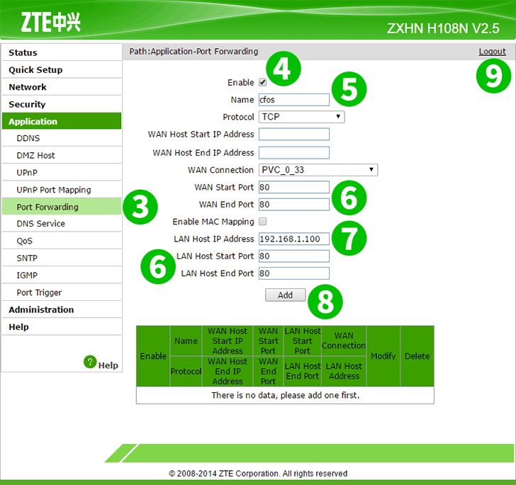 Enable port forwarding for the ZTE ZHXN H108N V2 5 - cFos Software