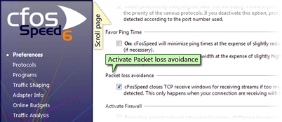 activate packet loss avoidance